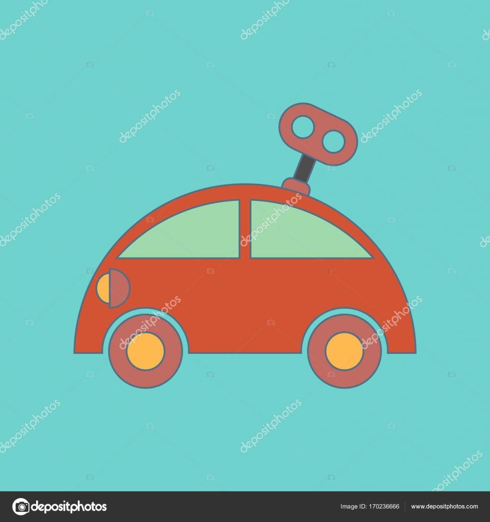 icono coche de juguete de los niños de fondo con llave plana ...