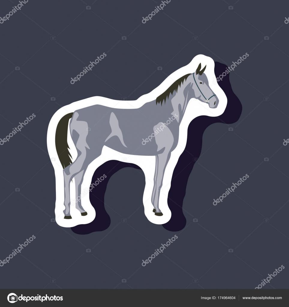 Papier-Aufkleber auf stilvollen Rahmen Pferd — Stockvektor ...