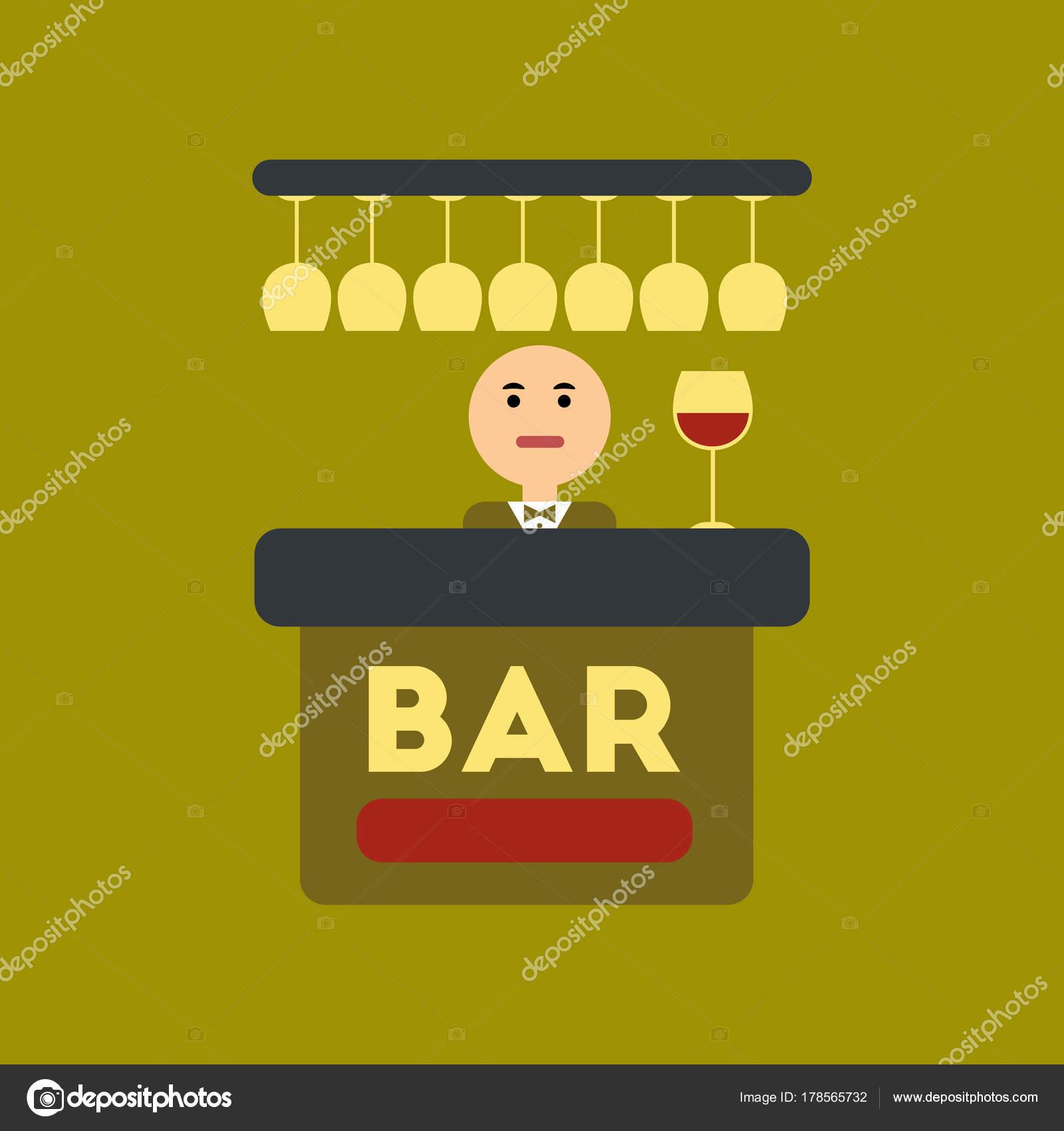 flache Symbol im stilvollen Rahmen Symbol Bar Barkeeper ...
