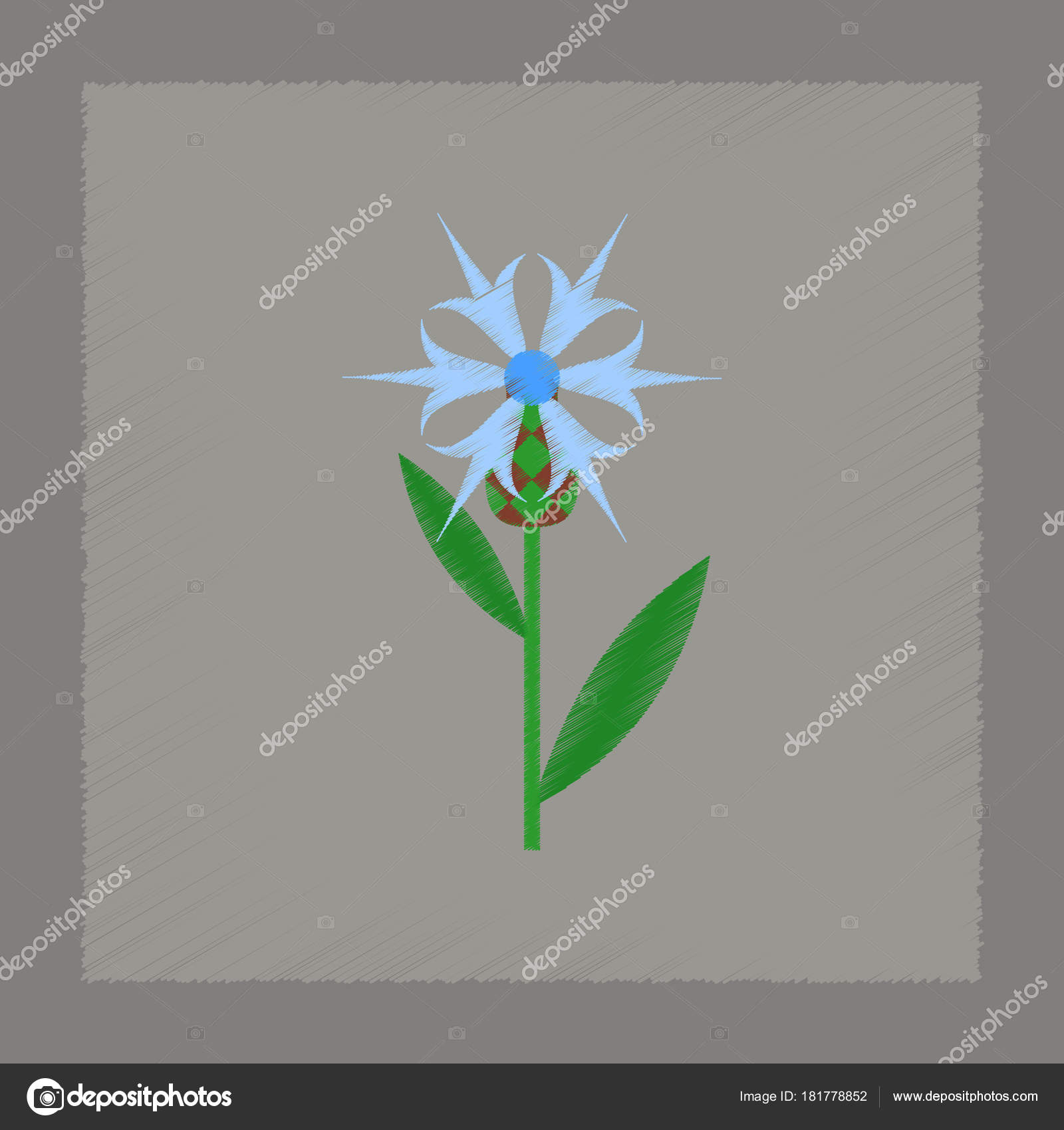 sombreado plano estilo icono planta de flor de Centaurea — Vector de ...
