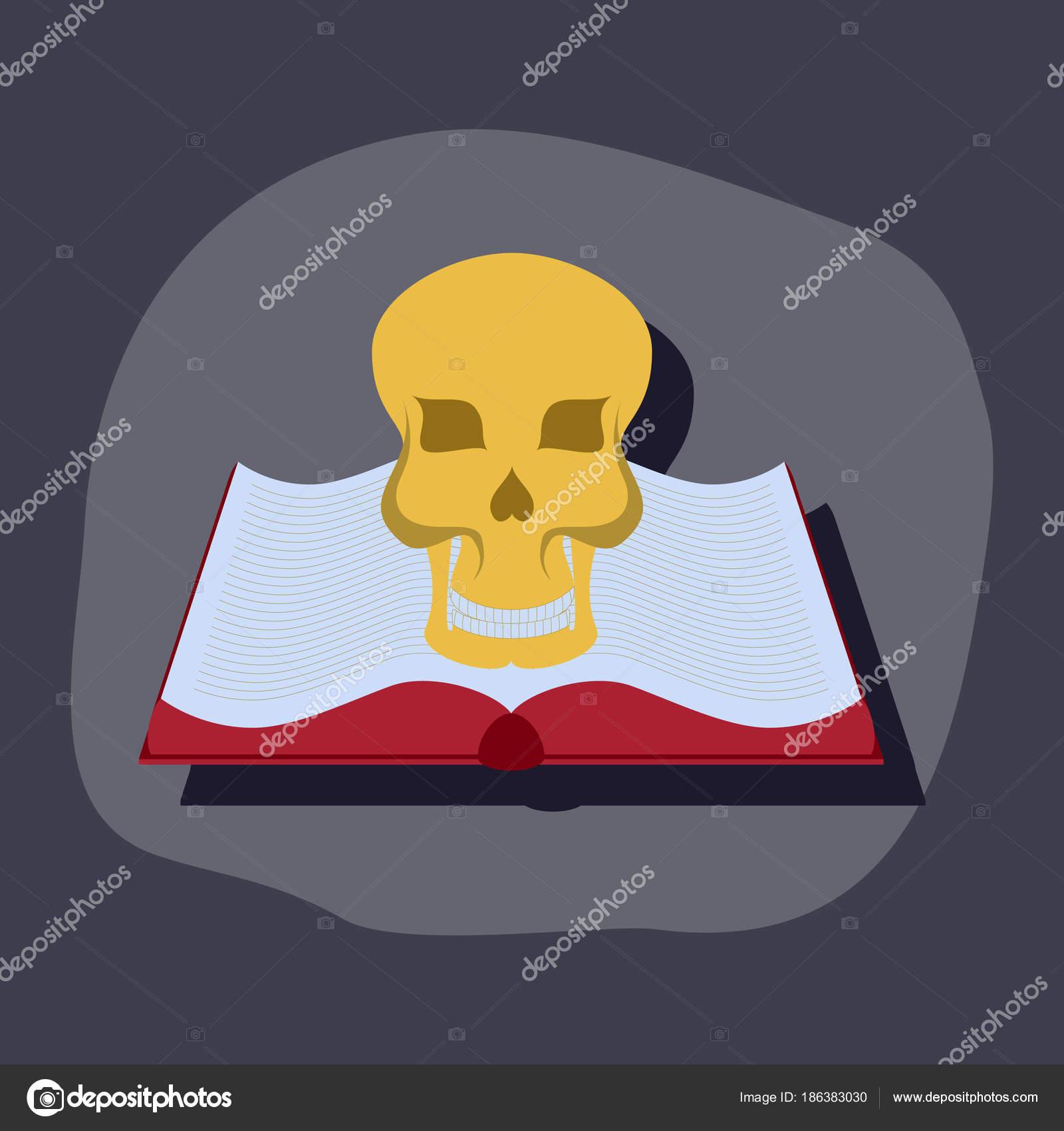 Papier-Aufkleber auf stilvollen Rahmen Buch Schädel — Stockvektor ...