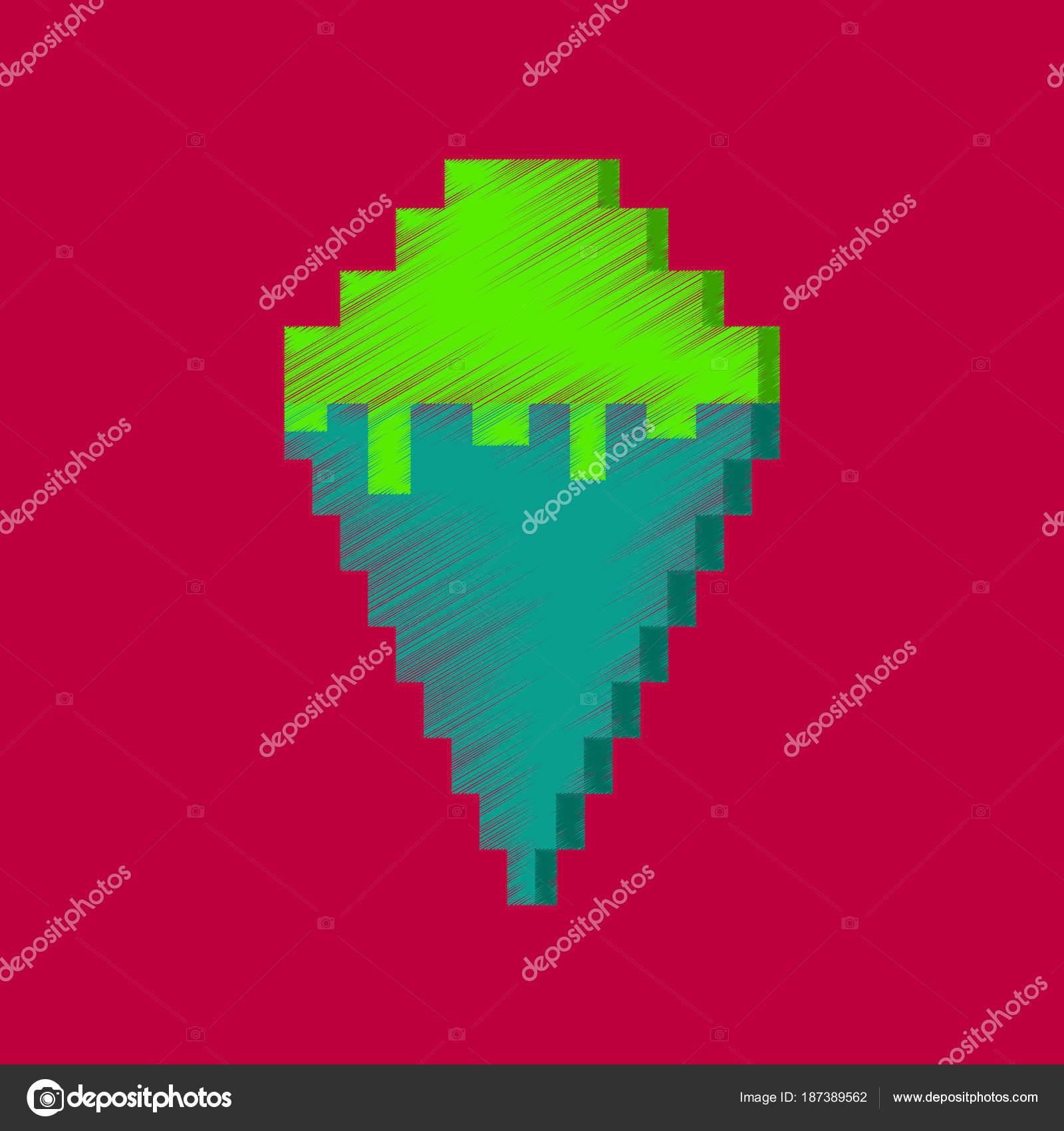 Cornet De Crème Glacée Ombrage Plat Style Icône Pixel