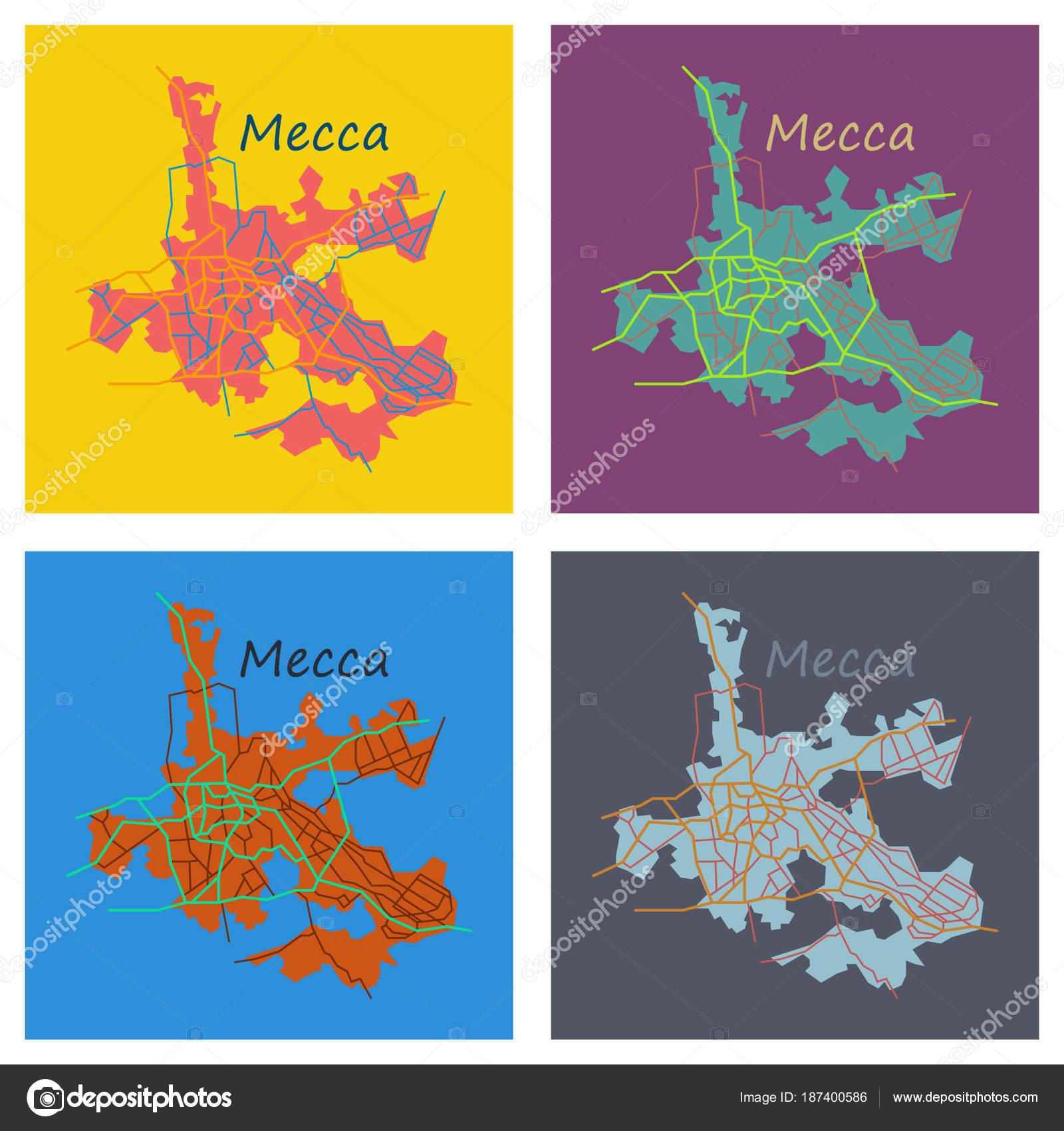 Set of Mecca map Saudi Arabia, Flat illustration. — Stock Vector ...