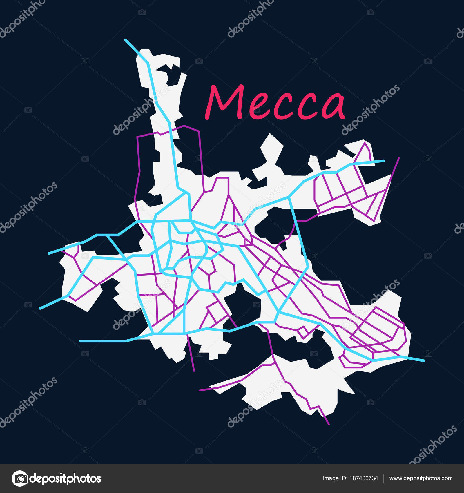 Mecca map Saudi Arabia, Flat illustration. — Stock Vector ...