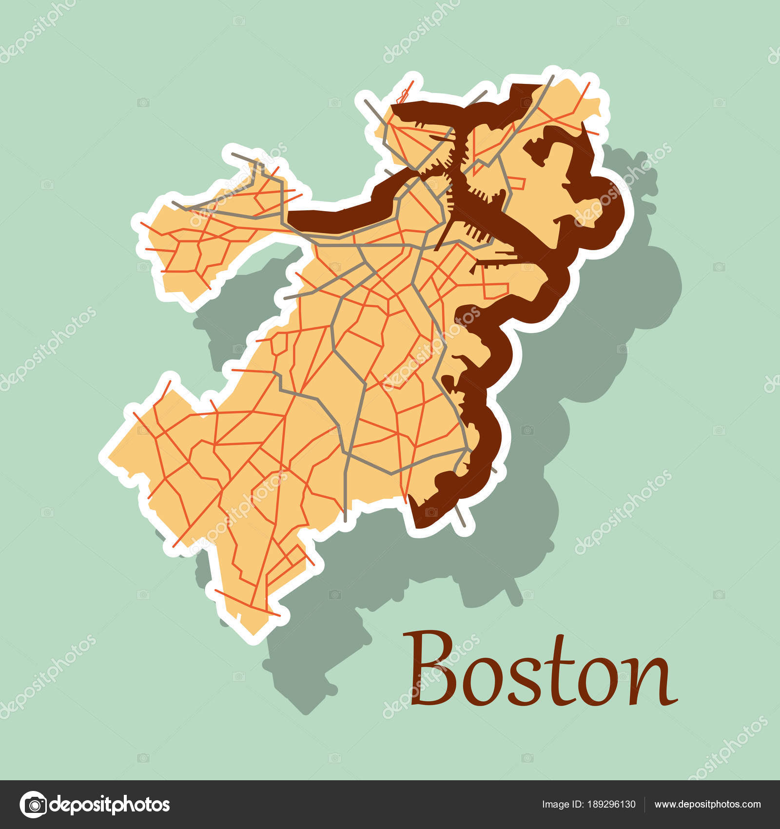 Map of boston city sticker illustration stock vector map of boston city sticker illustration stock vector gumiabroncs Images