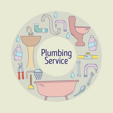 Plumbing service banner, poster or logo design. Line style plumbing equipment collection. Vector illustration.