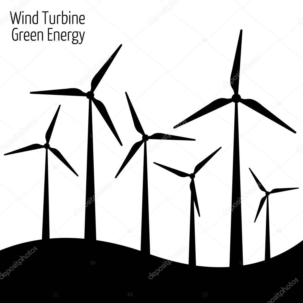 Landscape Illustration Vector Free: Wind Turbine Vector Illustration. Windmill. Wind Turbine