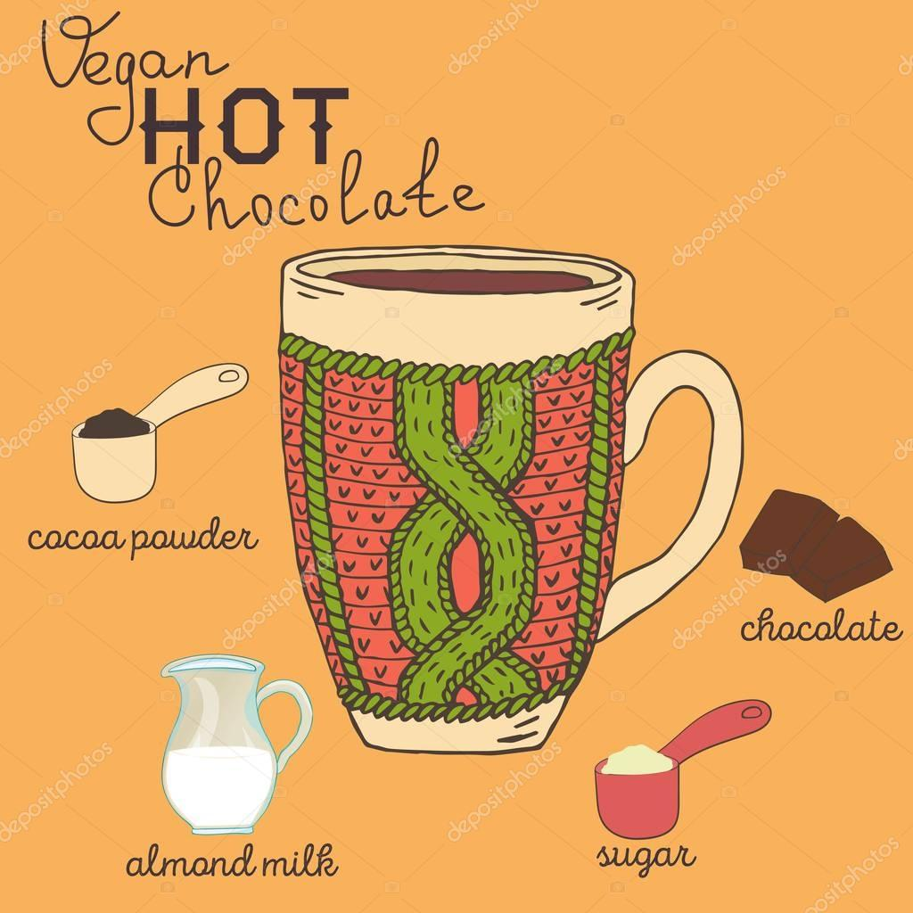 Vegane heiße Schokolade Rezept mit Zutaten. Vegetarische warme ...