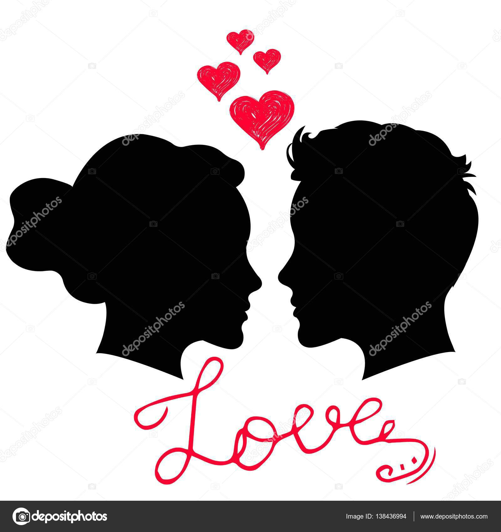 Man And Woman Face Silhouette On White Background Man And Woman In Love Saint Valentine Day Card With Hand Lettering Phrase Love Stock Vector C Valedella 138436994