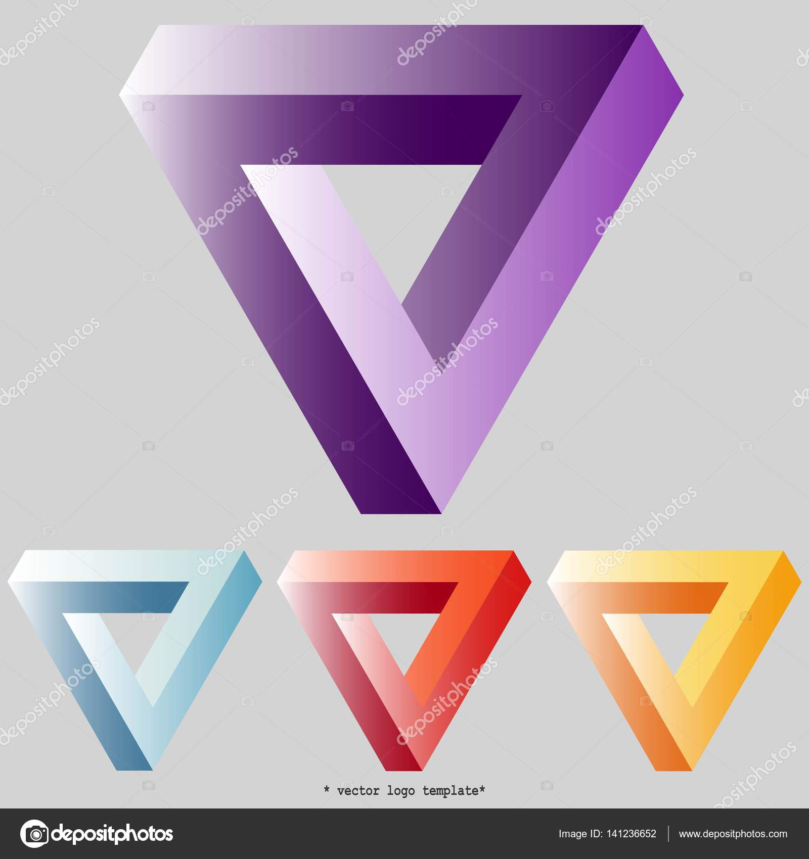 penrose triangle set of gradient 3d triangle on black background