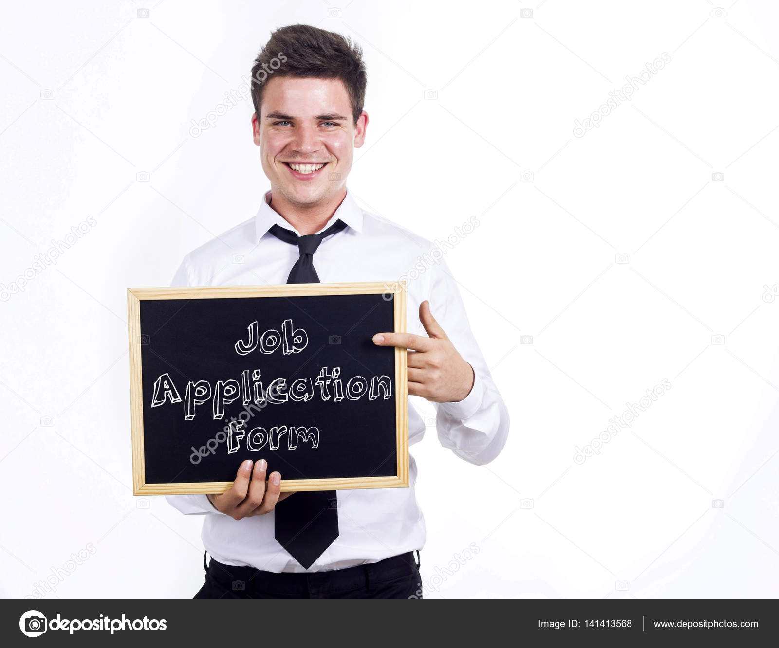 Job Application Form - Young smiling businessman holding chalkbo ...