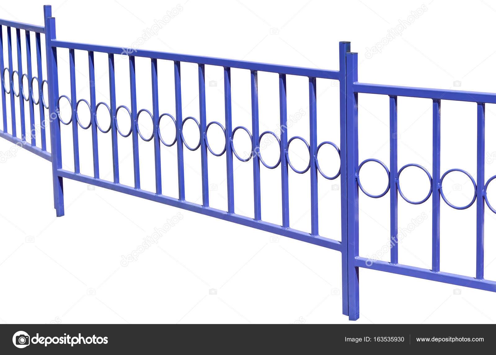 Blaue Metallzaun Auf Weiss Stockfoto C Vega 240 163535930