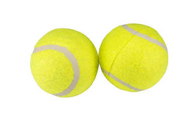 Two tennis balls isolated on white