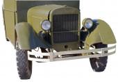 Retro (második világháborús időszak) autó elszigetelt fehér alapon
