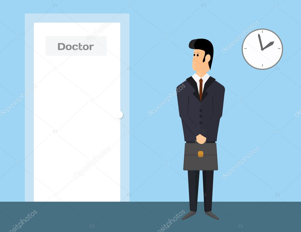 pharmaceutical sales representative waiting to visit a doctor man in suit is waiting in doctors