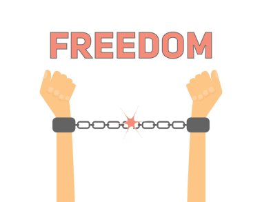 Freedom conceptual illustration. Hands breaks slavery chains