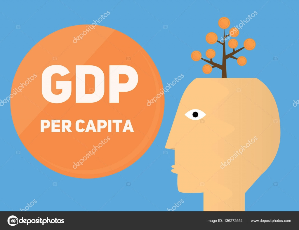 gdp per capita conceptual illustration human hand vector icon with
