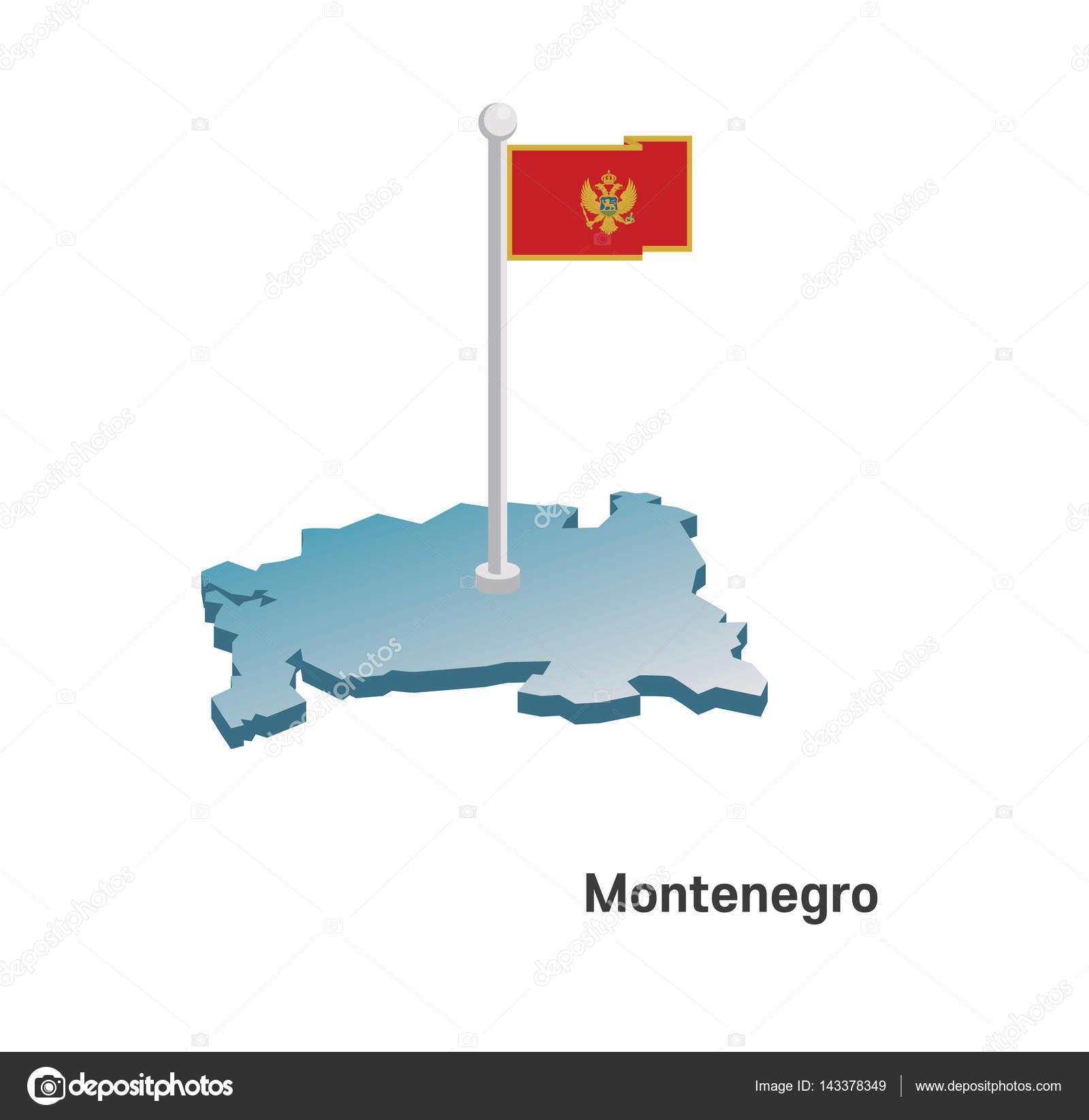 Montenegro Map With Flag Stock Vector Kavusta - Montenegro map download