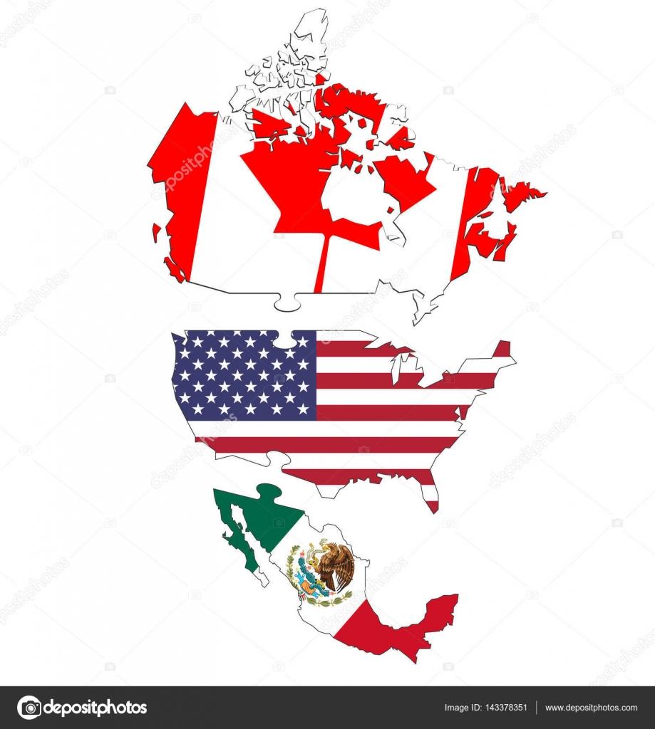 Carte Usa Canada Mexique.Usa Canada Et Le Mexique Cartes Geopolitiques Illustration