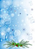 Winter background with berry and snowflakes. Can be use as banner or poster.Vector illustration