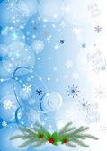 Zimní pozadí s berry a sněhové vločky. Může být použít jako nápis nebo plakát. Vektorové ilustrace