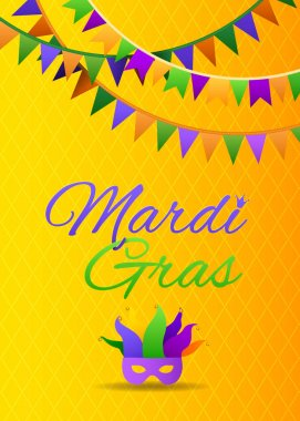 Mardi Gras Party Bunting Poster. Carnival Funny Background with Mask