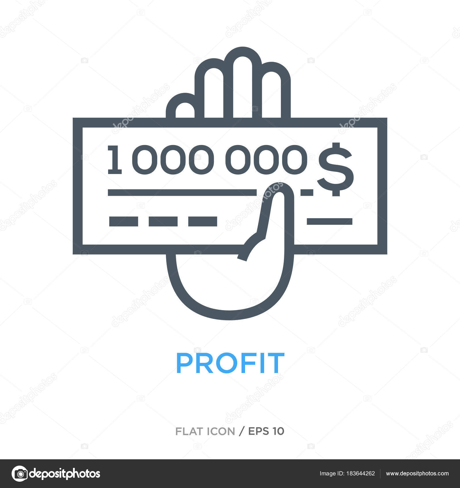 Million Check Line Flat Icon Stock Vector Turbodesign 183644262