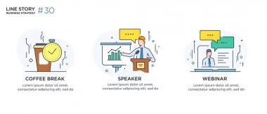 Set of illustrations concept with business concept. Workflow, growth, graphics. break, rest, presentation, online, school. linear illustration Icons infographics. Landing page site print poster. Line