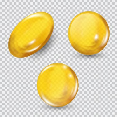 Gold glass ball set isolated on transparent background. Regenerate face cream and vitamin complex concept
