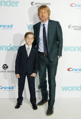 actors Jacob Tremblay and Owen Wilson at the Los Angeles premiere of 'Wonder' held at the Regency Village Theatre in Westwood, USA on November 14, 2017.