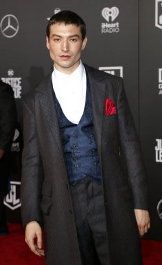 actor Ezra Miller at the World premiere of 'Justice League' held at the Dolby Theatre in Hollywood, USA on November 13, 2017.