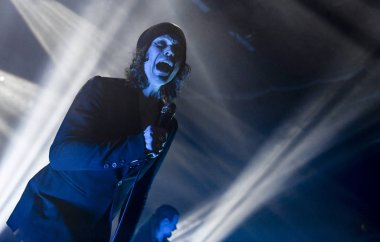 Ville Valo, the lead singer and frontman of HIM. The Finnish rock band HIM had their final concert at Helldone Festival held at the Helsinki Ice Hall in Helsinki, Finland on December 27, 2017.