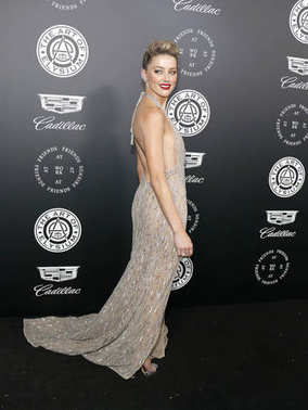 actress Amber Heard at the Art Of Elysium's 11th Annual Heaven Celebration held at the Barker Hangar in Santa Monica, USA on January 6, 2018.