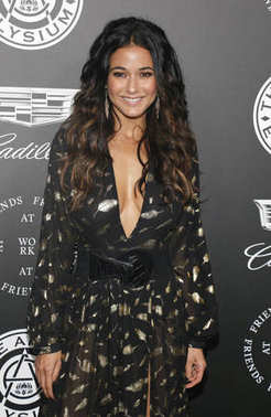 actress Emmanuelle Chriqui at the Art Of Elysium's 11th Annual Heaven Celebration held at the Barker Hangar in Santa Monica, USA on January 6, 2018.