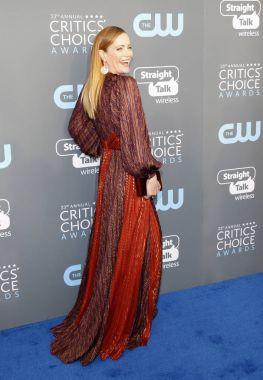 actress Leslie Mann at the 23rd Annual Critics' Choice Awards held at the Barker Hangar in Santa Monica, USA on January 11, 2018.