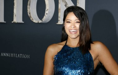 actress Gina Rodriguez at the Los Angeles premiere of 'Annihilation' held at the Regency Village Theater in Westwood, USA on February 13, 2018.