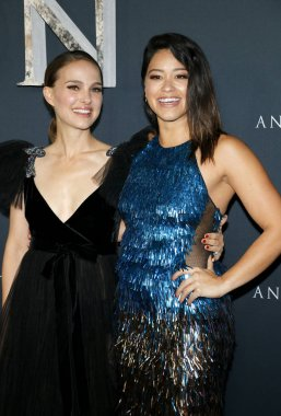 actresses Natalie Portman and Gina Rodriguez at the Los Angeles premiere of 'Annihilation' held at the Regency Village Theater in Westwood, USA on February 13, 2018.