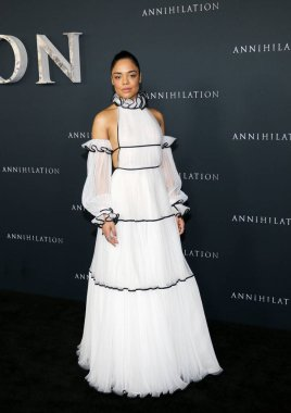 actress Tessa Thompson at the Los Angeles premiere of 'Annihilation' held at the Regency Village Theater in Westwood, USA on February 13, 2018.