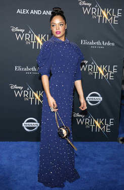 actress Tessa Thompson at the Los Angeles premiere of 'A Wrinkle In Time' held at the El Capitan Theater in Hollywood, USA on February 26, 2018.