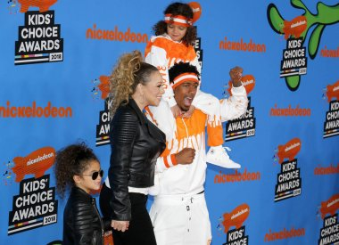 Mariah Carey, Nick Cannon, Moroccan Cannon and Monroe Cannon at the Nickelodeon's 2018 Kids' Choice Awards held at the Forum in Inglewood, USA on March 24, 2018.