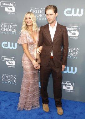 actors Kaley Cuoco and Karl Cook at the 23rd Annual Critics' Choice Awards held at the Barker Hangar in Santa Monica, USA on January 11, 2018.