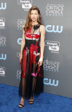 actress Jessica Biel at the 23rd Annual Critics' Choice Awards held at the Barker Hangar in Santa Monica, USA on January 11, 2018.