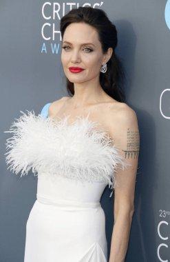 actress Angelina Jolie at the 23rd Annual Critics' Choice Awards held at the Barker Hangar in Santa Monica, USA on January 11, 2018.