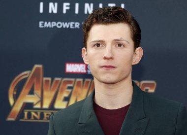 actor Tom Holland at the premiere of Disney and Marvel's 'Avengers: Infinity War' held at the El Capitan Theatre in Hollywood, USA on April 23, 2018.