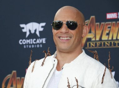 actor Vin Diesel at the premiere of Disney and Marvel's 'Avengers: Infinity War' held at the El Capitan Theatre in Hollywood, USA on April 23, 2018.
