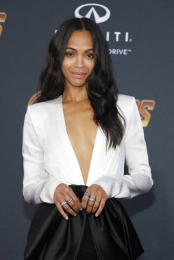 actress Zoe Saldana at the premiere of Disney and Marvel's 'Avengers: Infinity War' held at the El Capitan Theatre in Hollywood, USA on April 23, 2018.