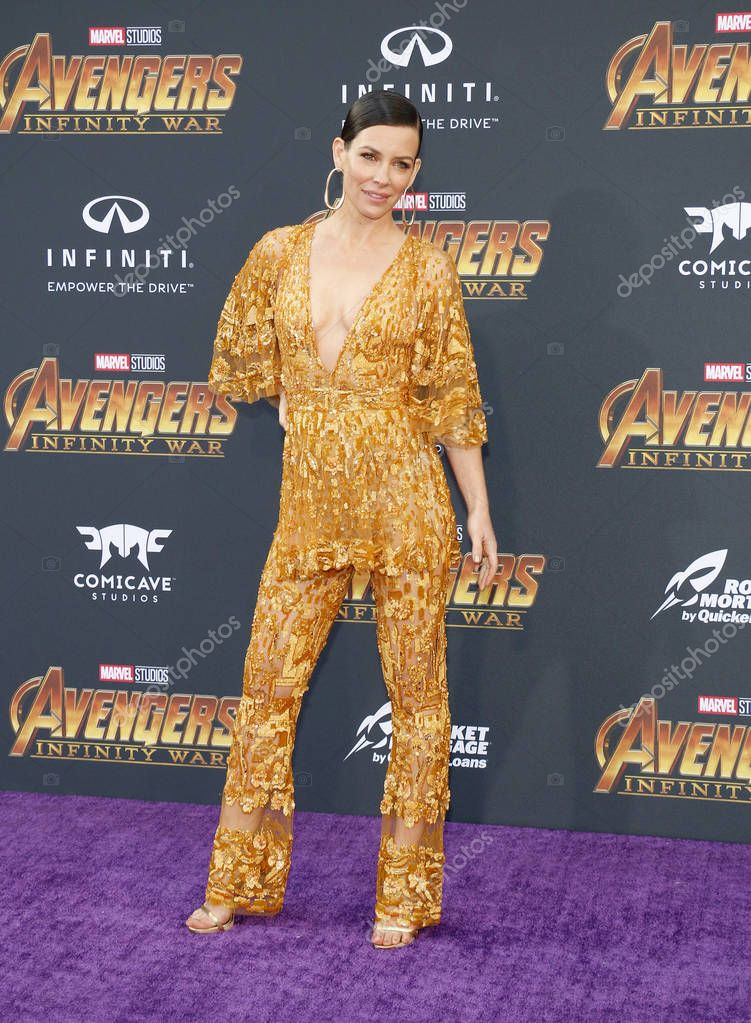 Actress Evangeline Lilly at the premiere of Disney and Marvel's 'Avengers: Infinity War' held at the El Capitan Theatre in Hollywood, USA on April 23, 2018. stock vector