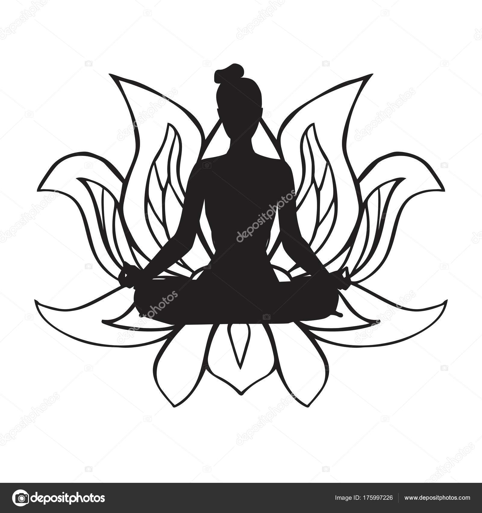 Vector illustration black female silhouette yoga pose buddhist vector illustration of black female silhouette in yoga pose and buddhist symbol lotus flower slim body woman doing meditation practice mightylinksfo Choice Image