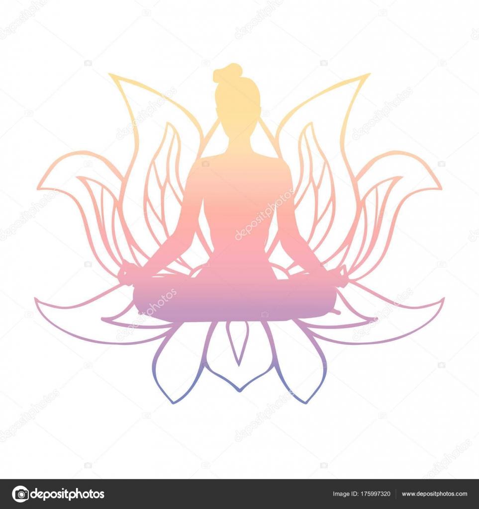Vector Illustration Colourful Female Silhouette Yoga Pose Buddhist
