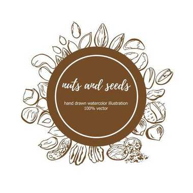 Vector illustration of Nuts and Seeds. Hand drawn doodle objects in circle composition with place for your text. Isolated sketchy elements on brown round label. Package, card, badge, print design.